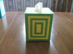 Green and yellow tissue box cover