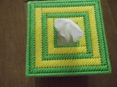 Top of Green and yellow tissue box cover
