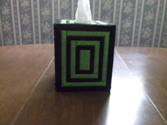 Black and Bright Green Tissue Box Cover and Coaster Set, Bathroom Accessories, Tissue Topper - Sissystreasurechest