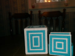 Teal and White Tissue Box with Coasters, Bathroom accessories, Tissue Topper - Sissystreasurechest