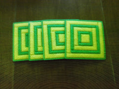 Green and yellow coaster