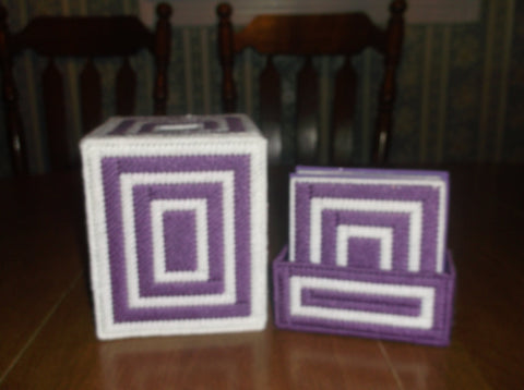 Purple and White Tissue Box with Coasters, Bathroom Accessories, Tissue topper