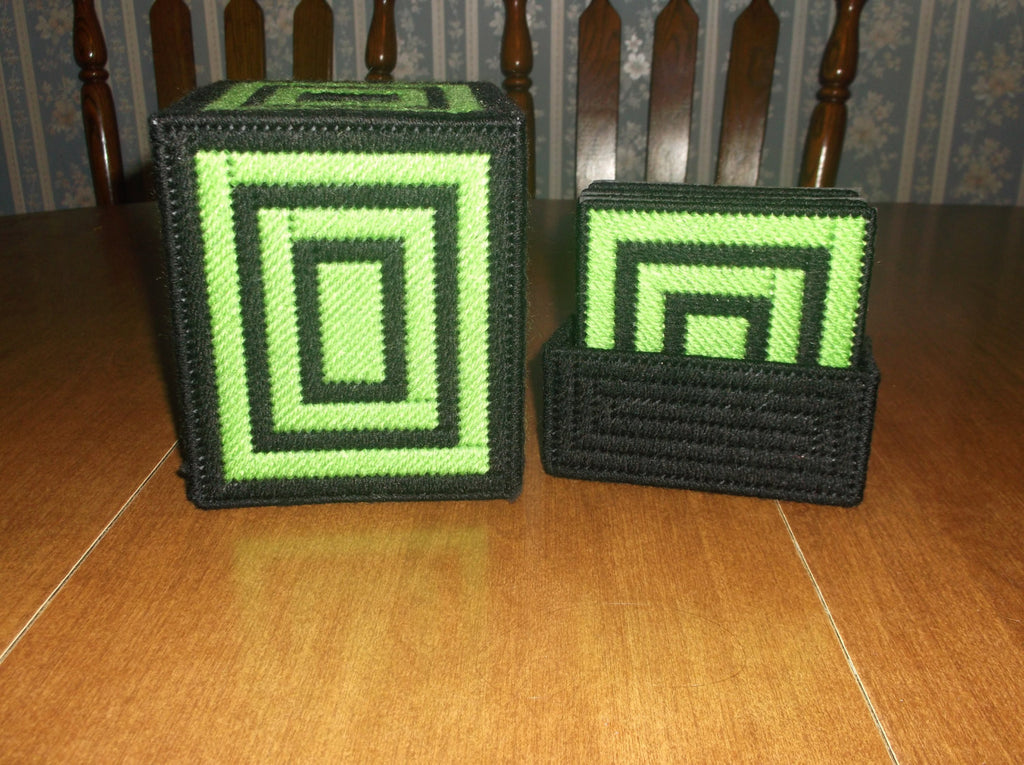 Black and Bright Green Tissue Box and coaster set, Tissue Topper, Bathroom Accessories - Sissystreasurechest
