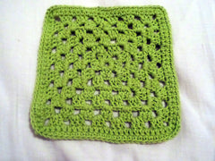 green granny square crochet dishcloth