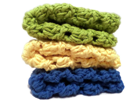 Blue, Yellow, Green Crochet Granny Square Wash Clothes, baby accessories,