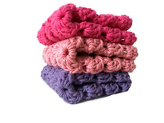 Lt and Bright Pink and Purple Crochet Granny Square Wash Clothes - Sissystreasurechest