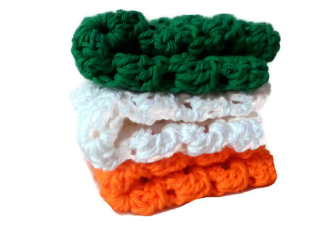 Green, White, Orange Crochet Granny Square Wash Clothes