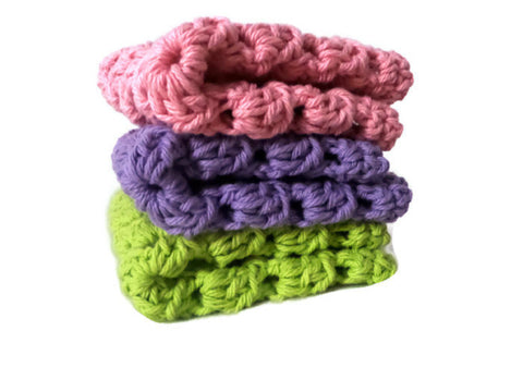 Pink, Purple, and Green Crochet Granny Square Wash Clothes / Dish Clothes, baby accessories,