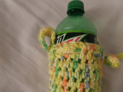 Crochet Water Bottle Cozy, Yellow Water Cazy - Sissystreasurechest