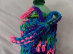 Crochet Water Bottle Cozy, Pink, Blue, Purple and Green bottle Cozy - Sissystreasurechest