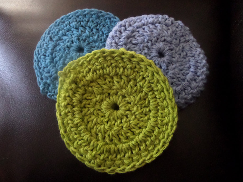 Blue, Lt. Blue and green cotton round crochet scrubbies.