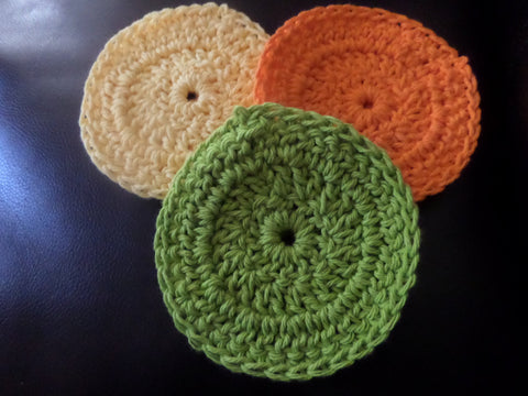 Crochet Scrubbies, Bath Accessories, Kitchen Accessories Yellow, Orange and Green