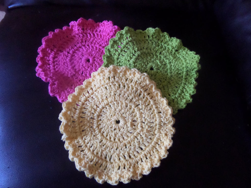 pink, green, and yellow crochet washcloth dishcloth