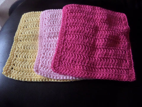 Crochet Wash / Dish Clothes, Kitchen / Bath Accessories Yellow, Light and Dark pink
