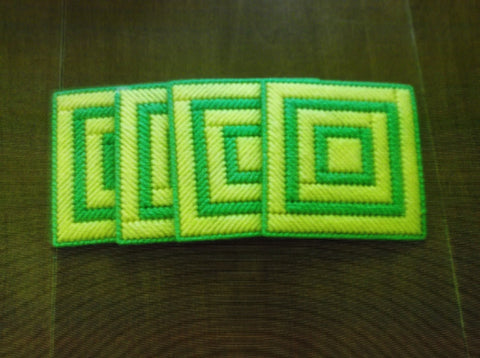 Green and Yellow Plastic Canvas Coaster set of 4