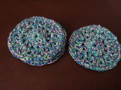Crochet Blue Green Purple and White Coasters Set of 4 Home Accessories - Sissystreasurechest