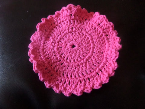 Pink Round Crochet WashCloth / DishCloth