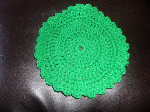 Crochet Green Round WashCloth / DishCloth
