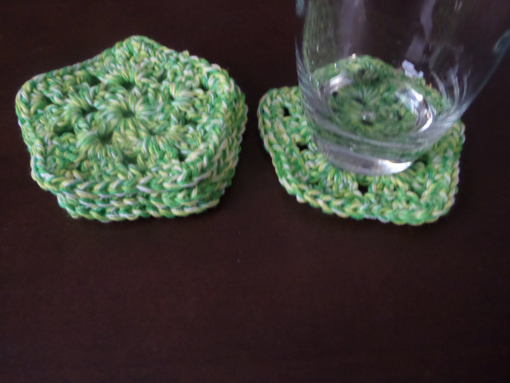 Pentagon Crochet Green Coaster Set of 4, Cotton Coaster - Sissystreasurechest