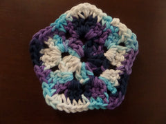 Purple, Blue and White Crochet Coasters Set of 4, Home Accessories, Cotton Pentagon Coasters - Sissystreasurechest