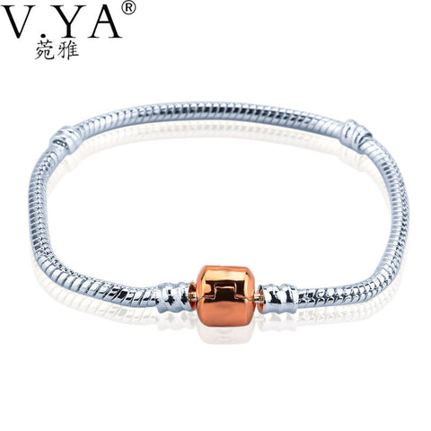 European Fine Rose Gold Color Snake Chain Bracelets & Bangles Cubic Zirconia