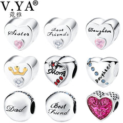 V.YA Family Jewelry DIY Charms Beads fit for Pandora Bracelet Bangle Friendship Bead for Women Men Gifts - Sissystreasurechest