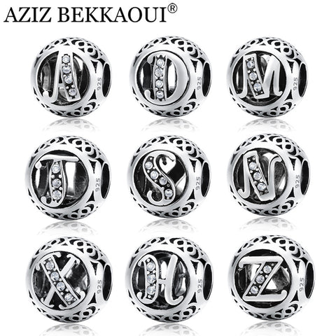 Silver Beads Original Alphabet Beads Fit Pandora Charm Bracelet Sterling Silver Letter Charms