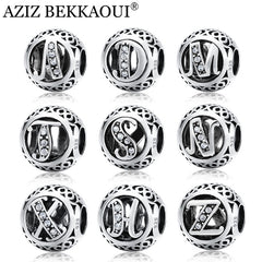 Silver Beads Original Alphabet Beads Fit Pandora Charm Bracelet Sterling Silver Letter Charms - Sissystreasurechest