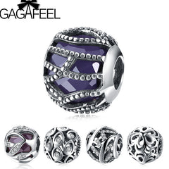 Purple Charm Beads Fit Pandora Bracelet Bangle Authentic 925 Sterling Silver Beads - Sissystreasurechest