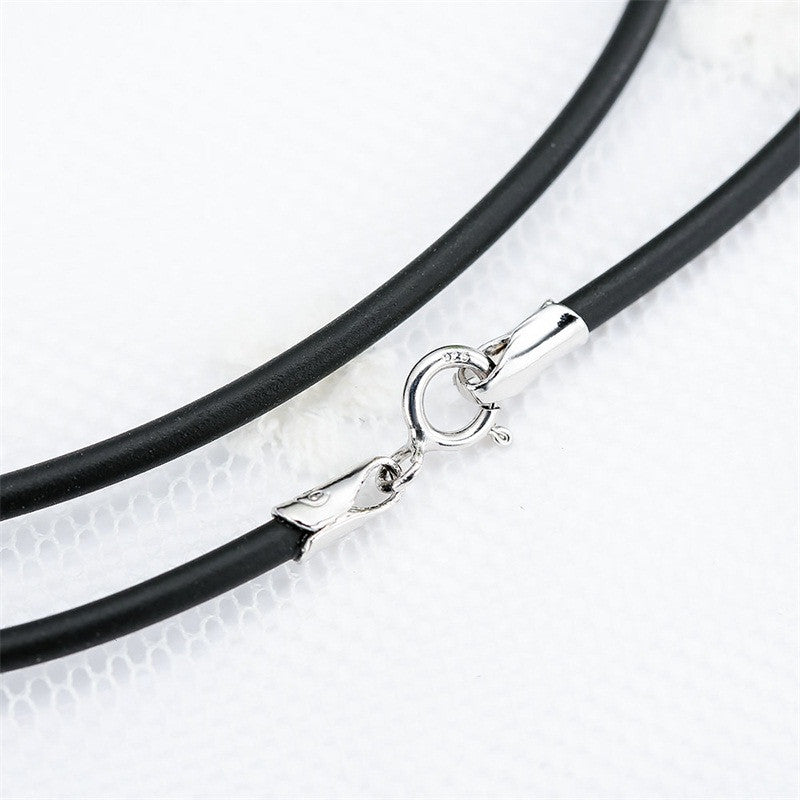 V.YA Black Leather Chain Necklace fit Pendant 925 Silver Clasp Rope Chain for Women Punk Men Leather Rope Choker Necklace - Sissystreasurechest