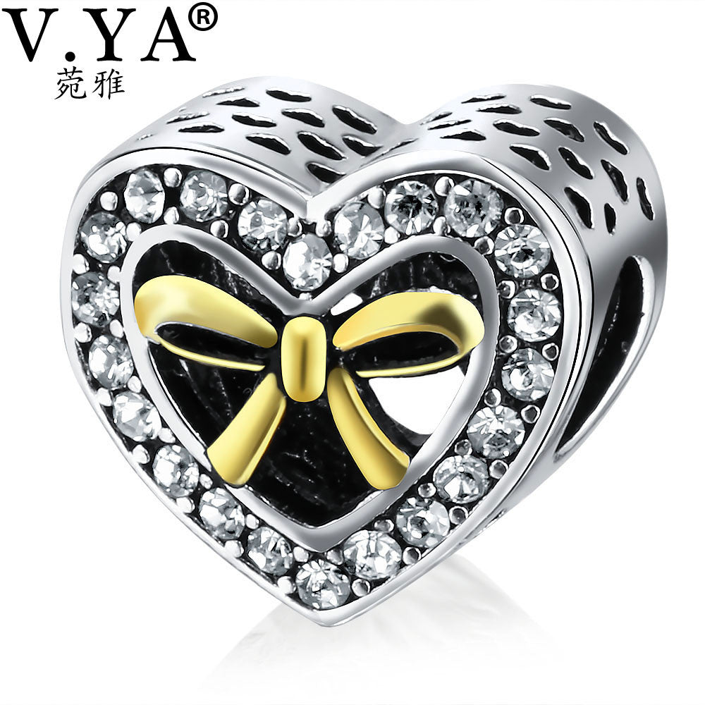 V.YA Valentine's Day Beads Charms Fits for Original Pandora Chain Necklace Bracelets for Women Men DIY Beads for Jewelry Making - Sissystreasurechest