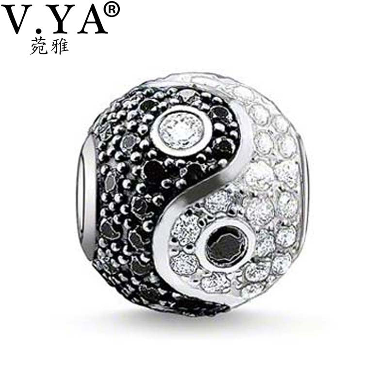Unique Zircon Beads Yin&Yang Beads Charms fit Pandora Bracelet - Sissystreasurechest