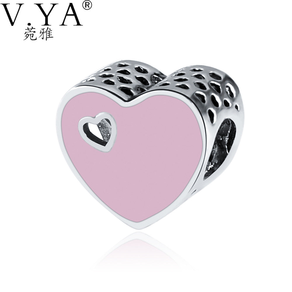 V.YA Lovely Heart Beads fit for Pandora Necklaces Bracelets DIY Accessories Charms for Woman Loose Charms Beads Drop Shipping - Sissystreasurechest