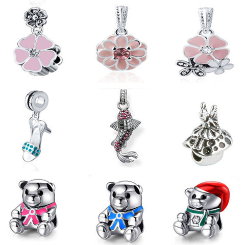 Pandora Charms Bear Crystal Bead for Jewelry Making