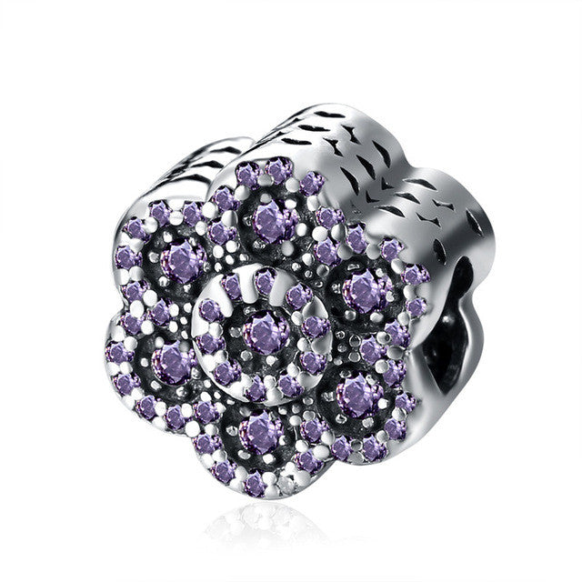 Sterling Silver Flower Charm Beads Fit Pandora Original Bracelet Crystal Beads For Jewelry Making - Sissystreasurechest