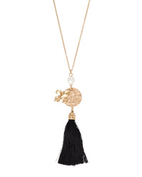 Hammered Gold Fleur De Lis Necklace With Black Tassel