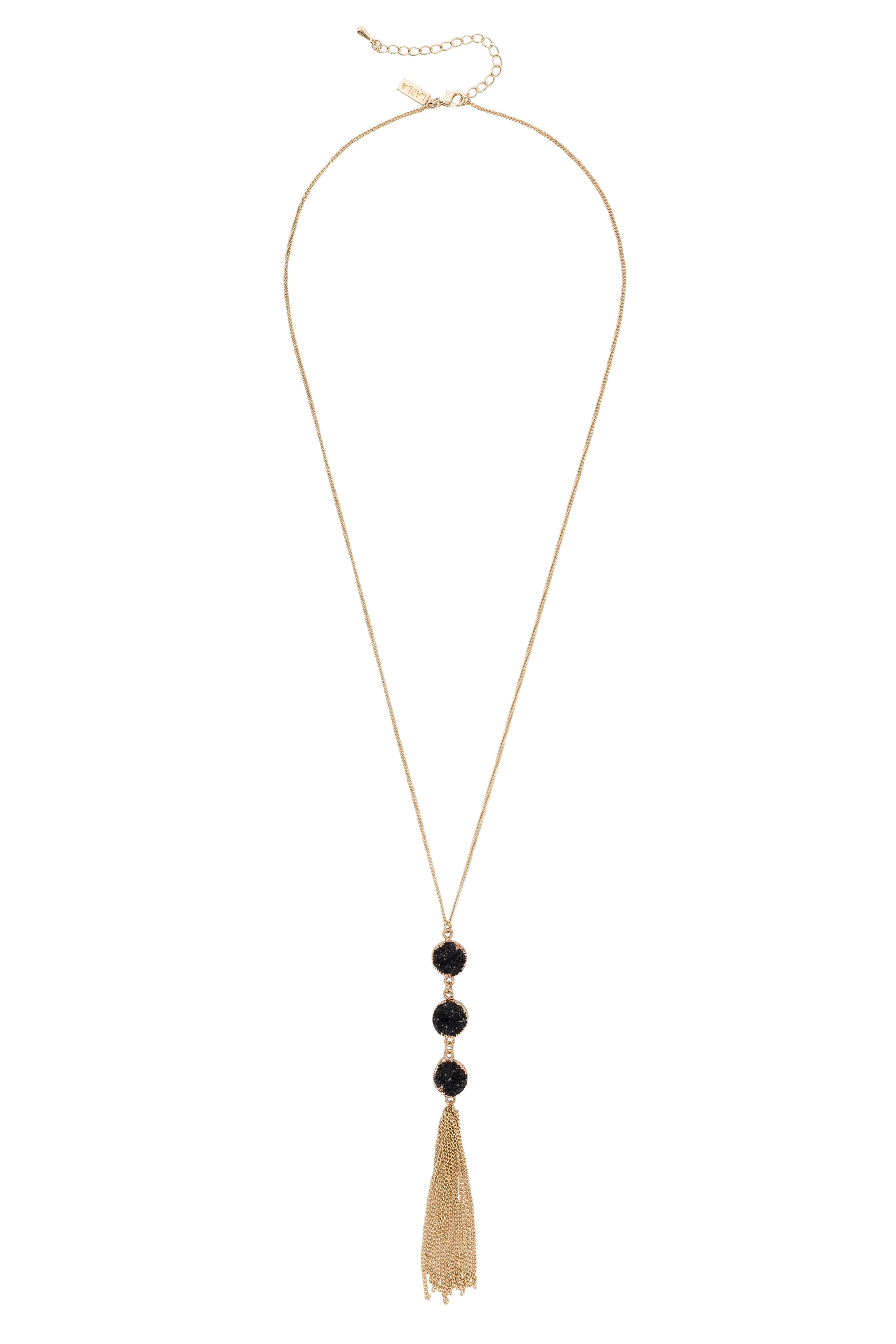 Three Black Druzy Charm With Gold Tassel Necklace