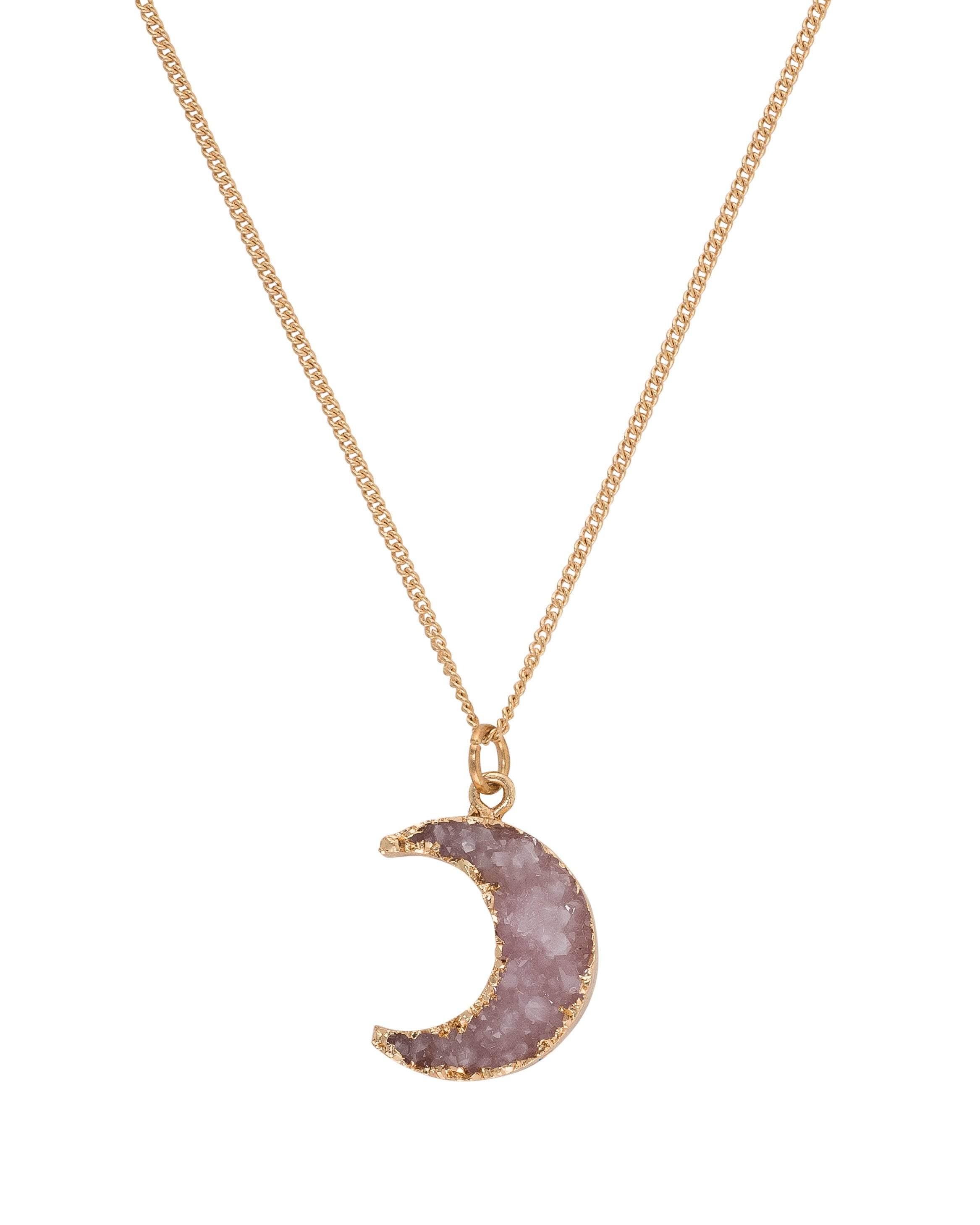Light Purple Druzy Moon Necklace