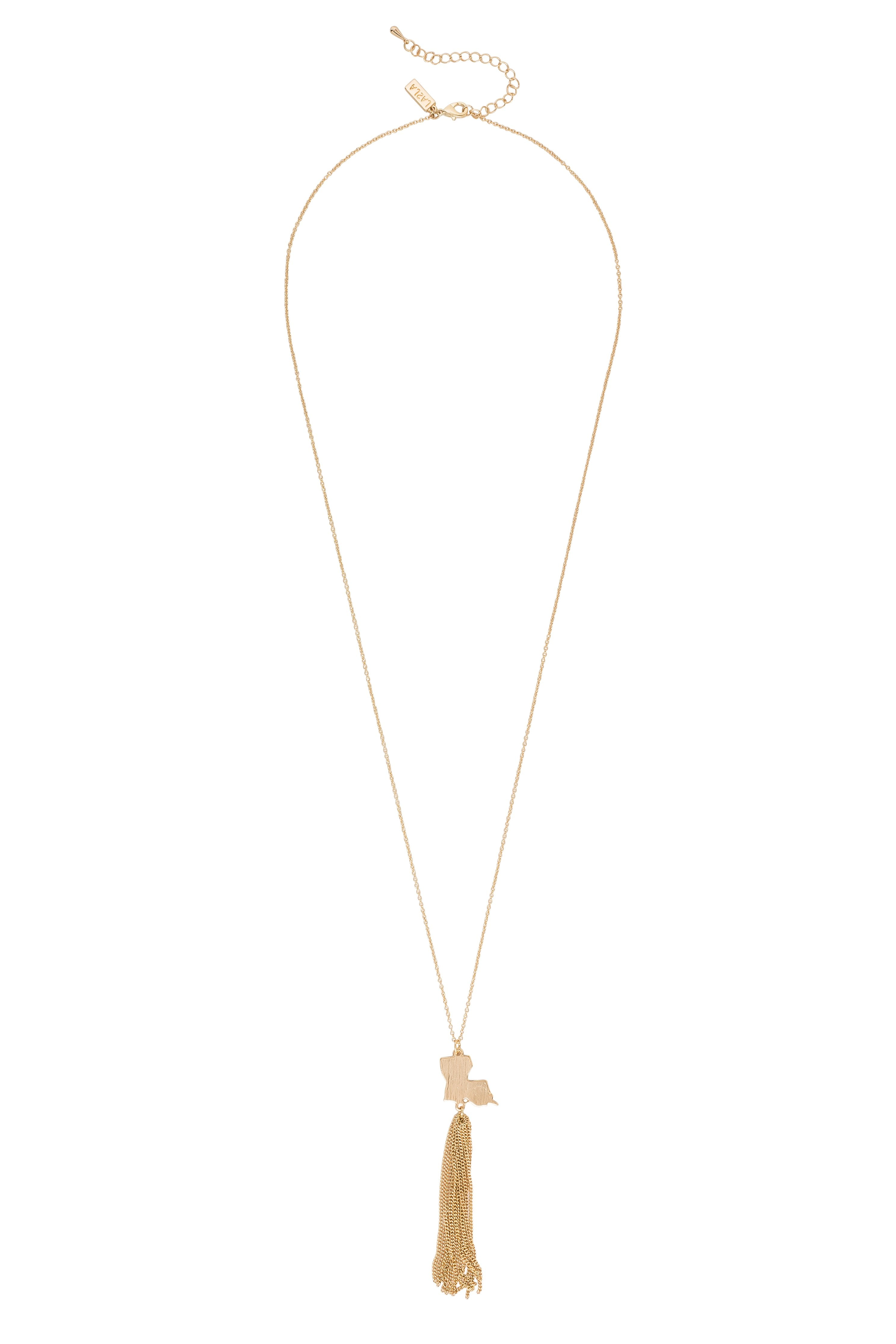 Gold Louisiana State Tassel Necklace