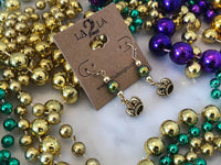 LA2LA Handmade Mardi Gras Gold Crown Beaded Earrings