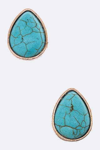 Turquoise & Copper Clip On Earring