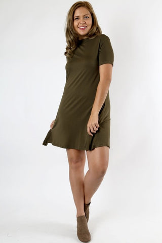 Plus Size Dark Olive Mock Dress