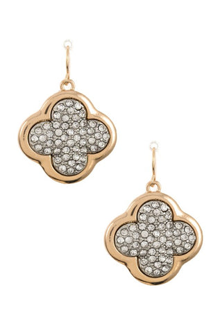 Gem Pave Clove Dangle Earring