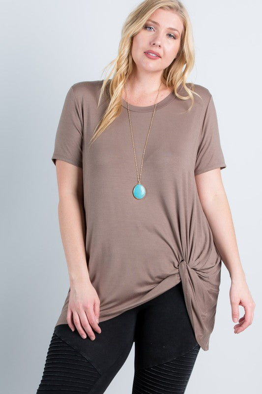 Plus Size Mocha Brown Short Sleeve T Shirt Twist Knot Top