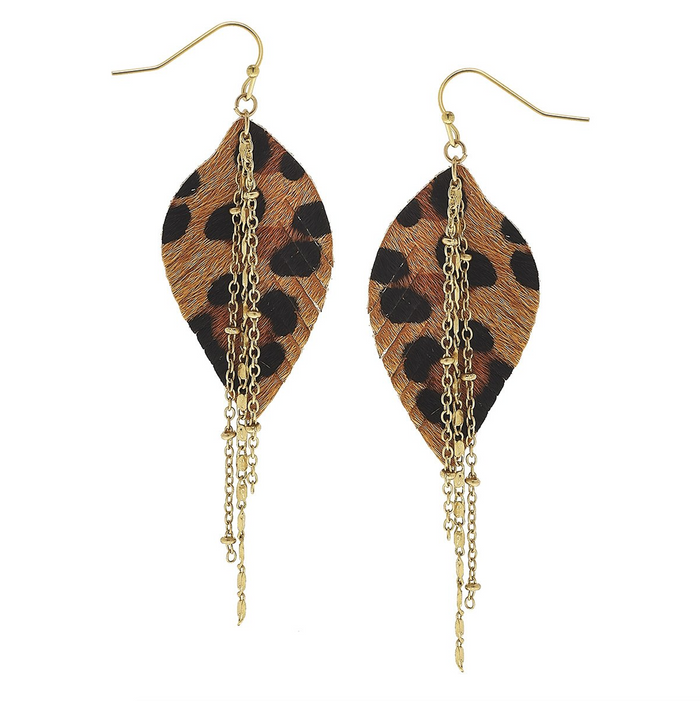 Black And Brown Leopard Feather With Tassel Chain Earrings