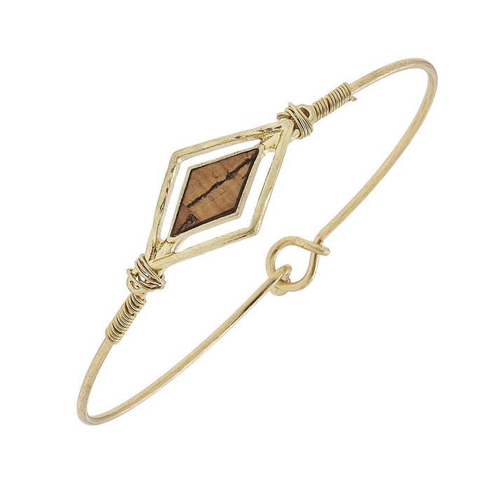 Diamond Cork Charm With Worn Gold Latch Bangle Bracelet