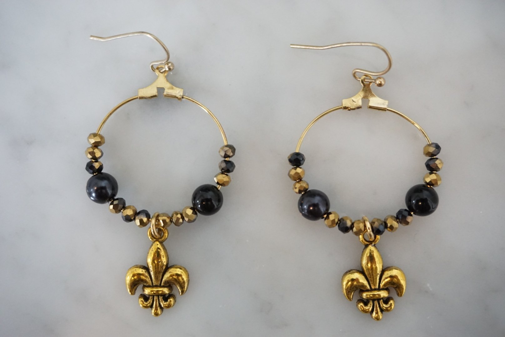 LA2LA Handmade Black And Gold Fleur De Lis Hoop Earrings