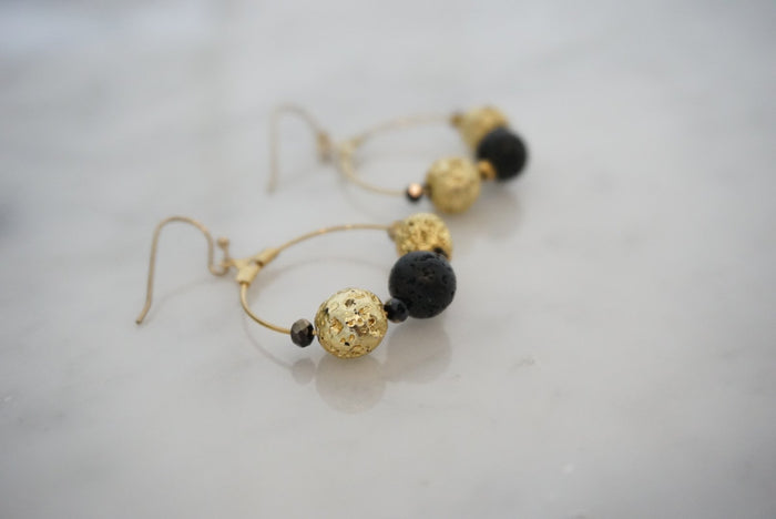 LA2LA Handmade Black And Gold Lava Stone Hoop Earrings