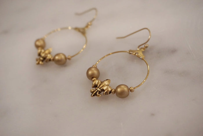 LA2LA Handmade Gold Fleur De Lis Charm Hoop Earrings