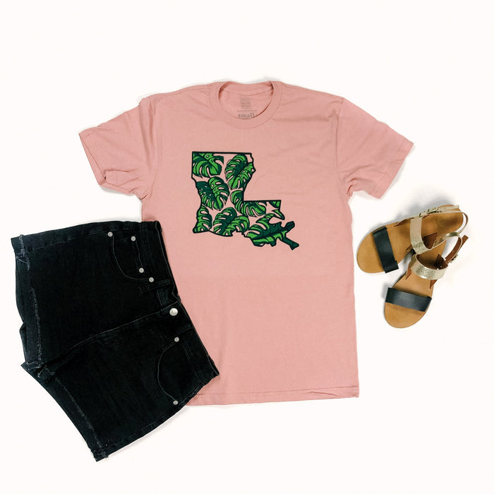 Preorder* Shipping out April 26th* Unisex Louisiana Pink And Green Flower Monsteras T Shirt Top
